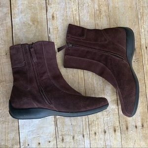 Lands End brown suede ankle boots 8.5